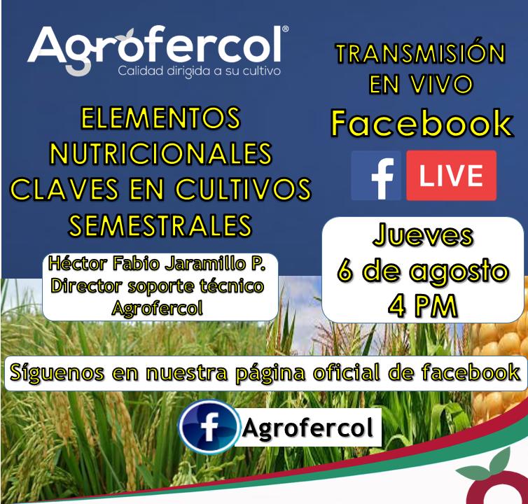 Facebook live Agrofercol: «Elementos nutricionales claves en cultivos semestrales»